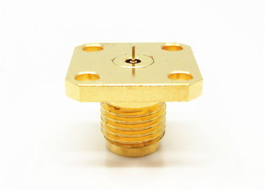 Gold Plated 2.4mm Female Straight Four Hole Flange Mount Millimeter Wave Connectors